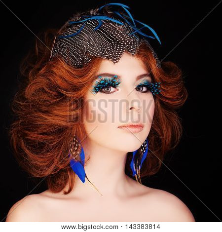 Cute Redhead Woman with Makeup and Red Hair. Blue Bird Face