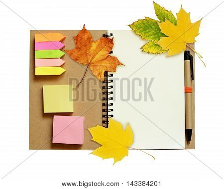 Notebook and pen with dry autumn leaves isolated on white