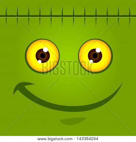 Vector stock of green monster face for halloween background