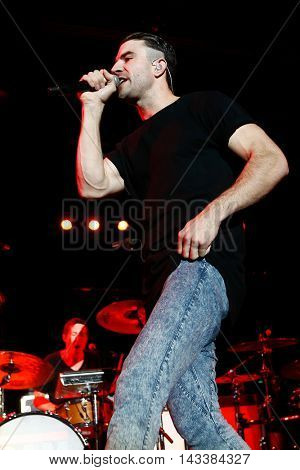 NEW YORK-SEP 25: Country music singer Sam Hunt performs in concert at the Best Buy Theater on September 25, 2014 in New York City.