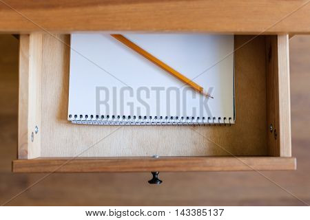 Pencil On Album For Drawing In Open Drawer
