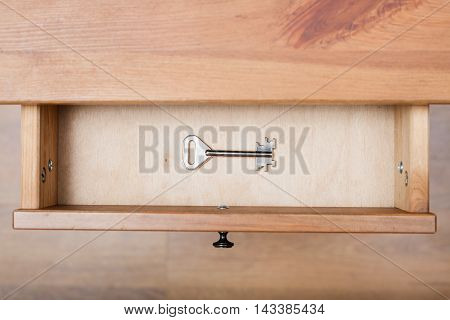 One Safe Key In Open Drawer