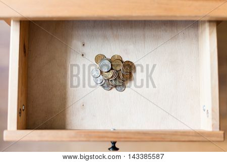 Pile Of Russian Coins In Open Drawer