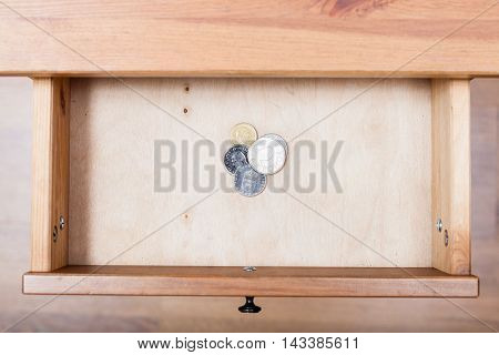 Few Swedish Krona Coins In Open Drawer