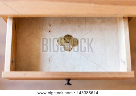 Pile Of European Coins In Open Drawer