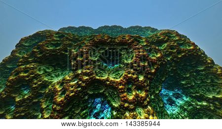 Moon surface or alien planet with craters 3d rendering