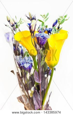Bouquet From Calla Lily, Blue Lisianthus Flowers