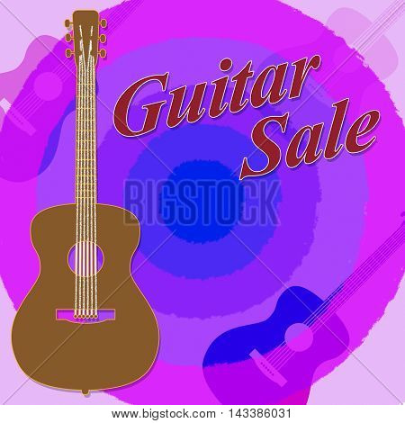 Guitar Sale Indicates Save Discounts And Promo