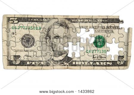 Worn Five Dollar Bill