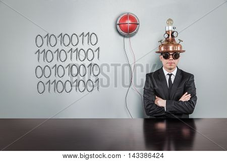 1, 01001101101011E text text with vintage businessman and alert light