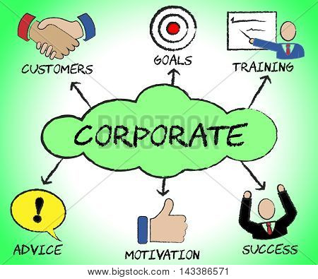 Corporate Symbols Indicates Professional Enterprise And Corporation