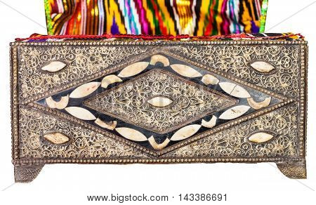 Old Arabic Casket With Textile Upholstery Isolated