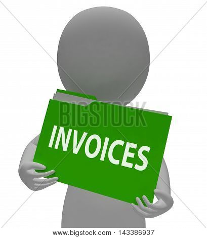 Invoices Folder Shows Bill Due 3D Rendering
