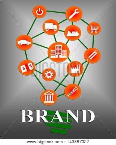 Brand Icons Indicates Company Identity And Branded
