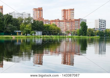 Recreation Area On Shore Of The City Pond
