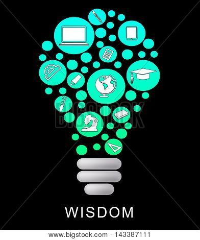 Wisdom Lightbulb Indicates Educational Graduation And Intellect