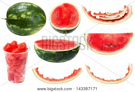 Collection From Whole And Sliced Watermelons