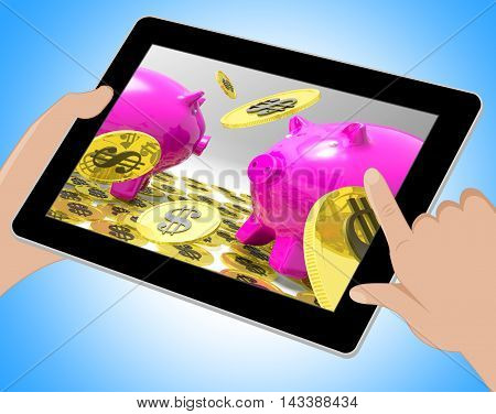 Dollar Coins On Piggybanks Shows American Usd 3D Illustration