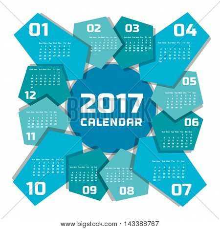 2017 Calendar. Template of calendar in simple geometric style. Material design as background. Every month on blue arrow. Year on central circle. Week starts Sunday. Easy to edit. Vector illustration