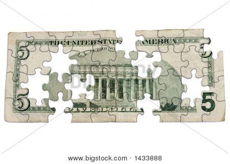 Worn Five Dollar Bill Backside