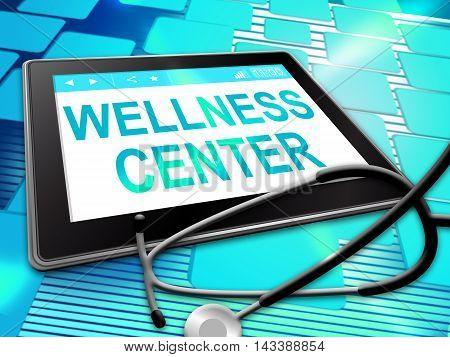 Wellness Center Indicates Health Clinic 3D Illustration