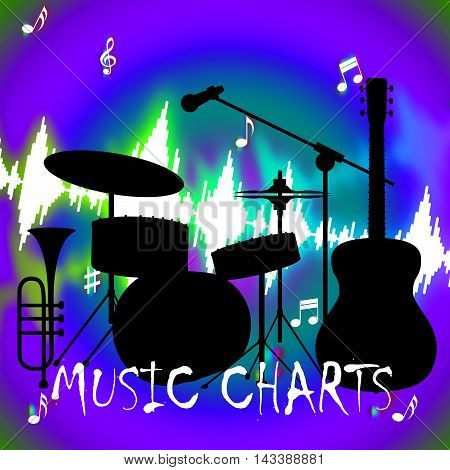 Music Charts Shows Hit Parade And Songs