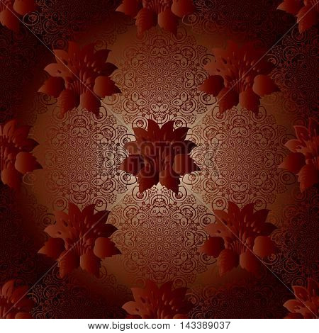 Dark red stylish modern  floral vector seamless pattern background with vintage volumetric red flowers and elegant lace art ornaments. Luxury illustration and royal 3d decor elements with shadow and highlights. Endless elegant  texture.