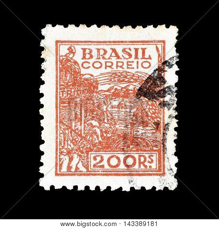 BRASIL - CIRCA 1922 : Cancelled postage stamp printed by Brasil, that shows agriculture.