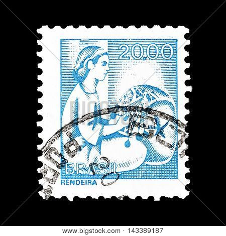 BRASIL - CIRCA 1976 : Cancelled postage stamp printed by Brasil, that shows Lace maker.