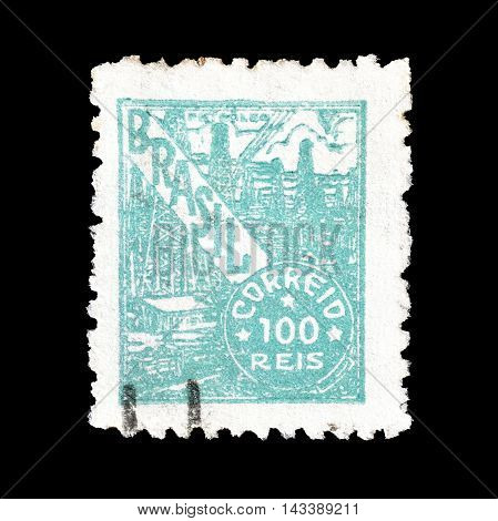 BRASIL - CIRCA 1941 : Cancelled postage stamp printed by Brasil, that shows Petroleum industry.