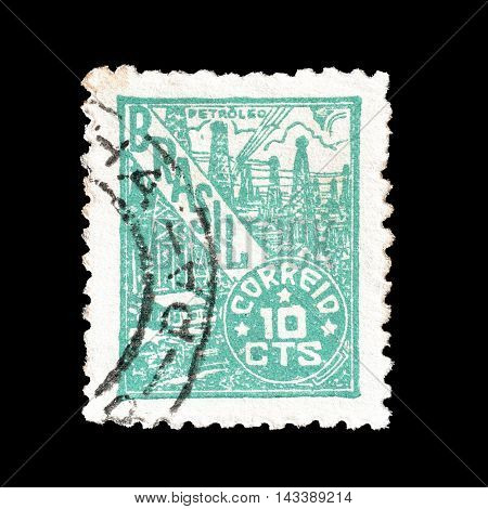 BRASIL - CIRCA 1947 : Cancelled postage stamp printed by Brasil, that shows Petroleum industry.
