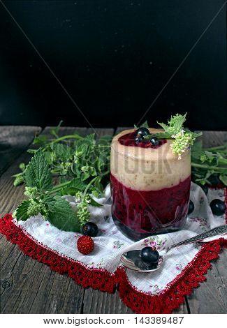 blackcurrant drink  berry, beverage, black, blackcurrant, blended, blue, board, cocktail, cold, concept, dessert,  fruit, glass, healthy, juice, leaf, milk, shake, smoothie, summer, vitamin, wooden, yogurt