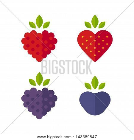 Heart shaped berries icon set. Raspberry and blueberry strawberry and blackberry. Flat stylized vector illustration.