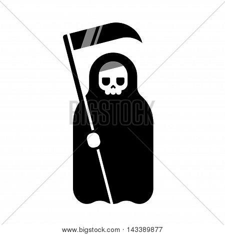 Cartoon Death with scythe icon. Black and white flat geometric vector illustration.