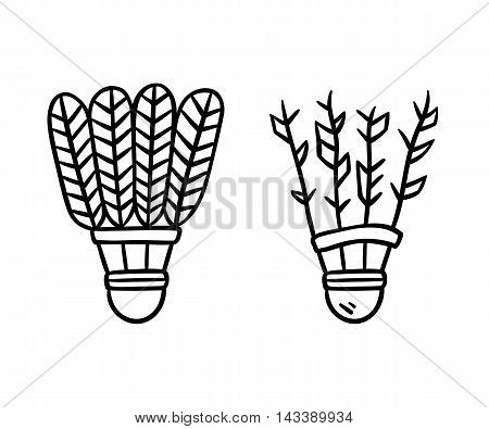 Two feather shuttlecocks old and new. Badminton line icons. Hand drawn doodle style vector illustration.