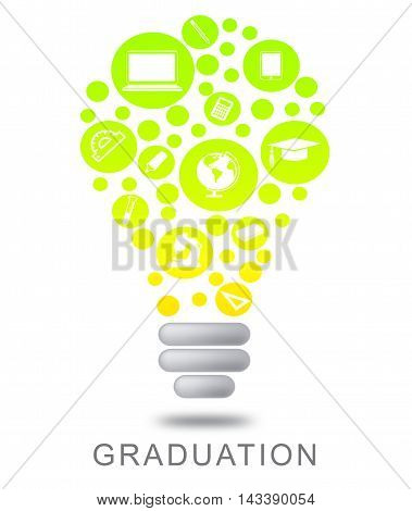 Graduation Lightbulb Represents Degree Qualification Or Masters