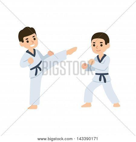 Cartoon kids training martial arts in kimono uniform. Karate or taekwondo character illustration.