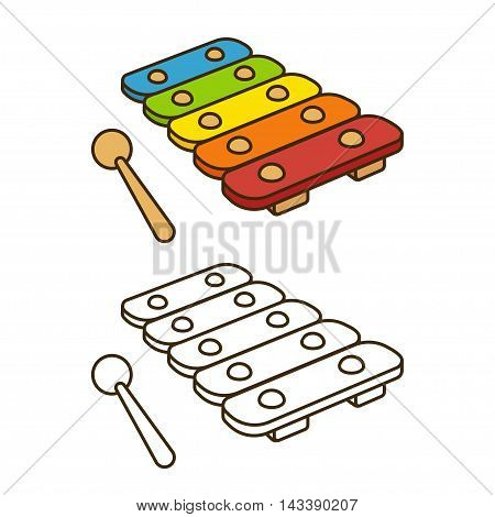 Cartoon toy xylophone vector. Coloring book illustration.