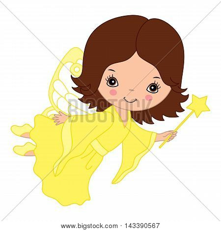 Vector cute flying little fairy with magic wand in yellow dress