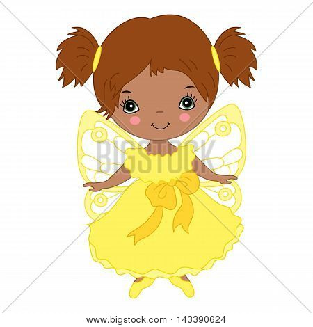 Vector African American cute little fairy in yellow dress