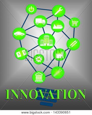 Innovation Lightbulb Shows Transformation Breakthrough And Ideas