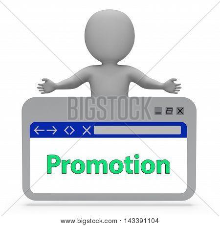 Promotion Webpage Represents Online Sale 3D Rendering