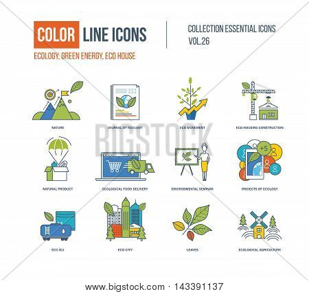 Color Line icons collection. Ecology, nature, journa of ecology, eco movement, eco housing construction, natural product, food delivery, seminar, eco oli, city leavesecological agriculture