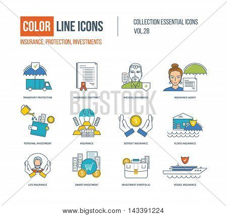 Color Line icons collection. Transport protection, insurance agent, flood and life, contract, medical insurance, personal investment, investment portfolio