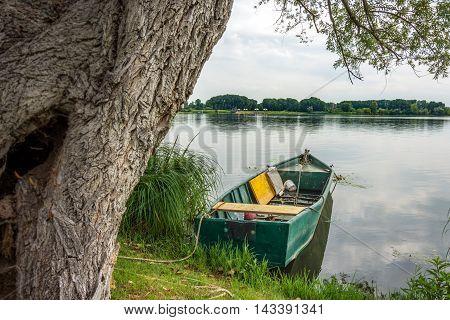 Green Boat On The Mantova Lake