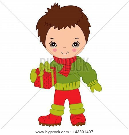 Vector Christmas little cute boy with gift box