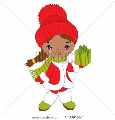 Vector African American Christmas little cute girl with gift box