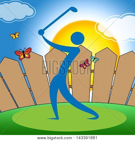 Golf Swing Indicates Fairway Golfer And Playing