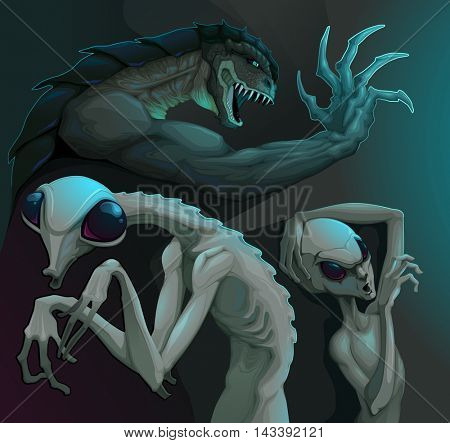 Three types of aliens: reptilian, grey and insectoid. Vector illustration