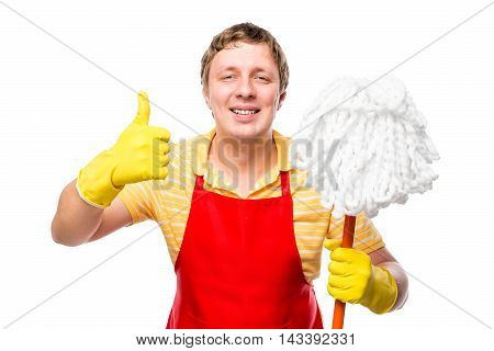 Happy Man Housewife With A Mop In His Hand On A White Background